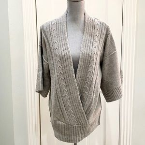 Banana Republic Gray Deep VNeck Cable-neck Sweater
